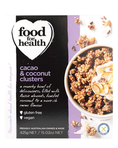 Food for Health Cacao & Coconut Clusters 425g