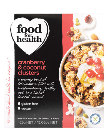Food for Health Cranberry & Coconut Clusters 425g