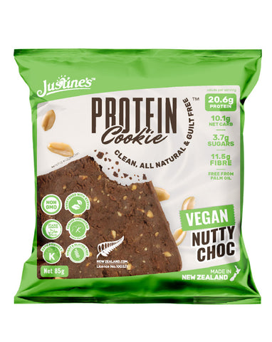 Justine's Protein Cookie Vegan Nutty Choc 12 x 85g - Fresh Food Enterprises