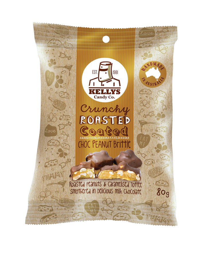 Kellys Candy Co Snack Pack Choc Peanut Brittle 80g - Fresh Food Enterprises