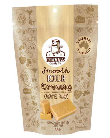 Kellys Candy Co Pouch Caramel Fudge 225g - Fresh Food Enterprises