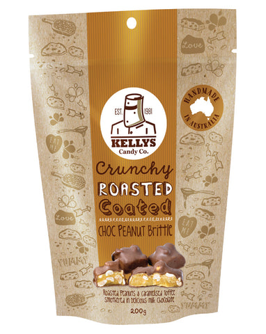Kellys Candy Co Pouch Choc Peanut Brittle 200g - Fresh Food Enterprises