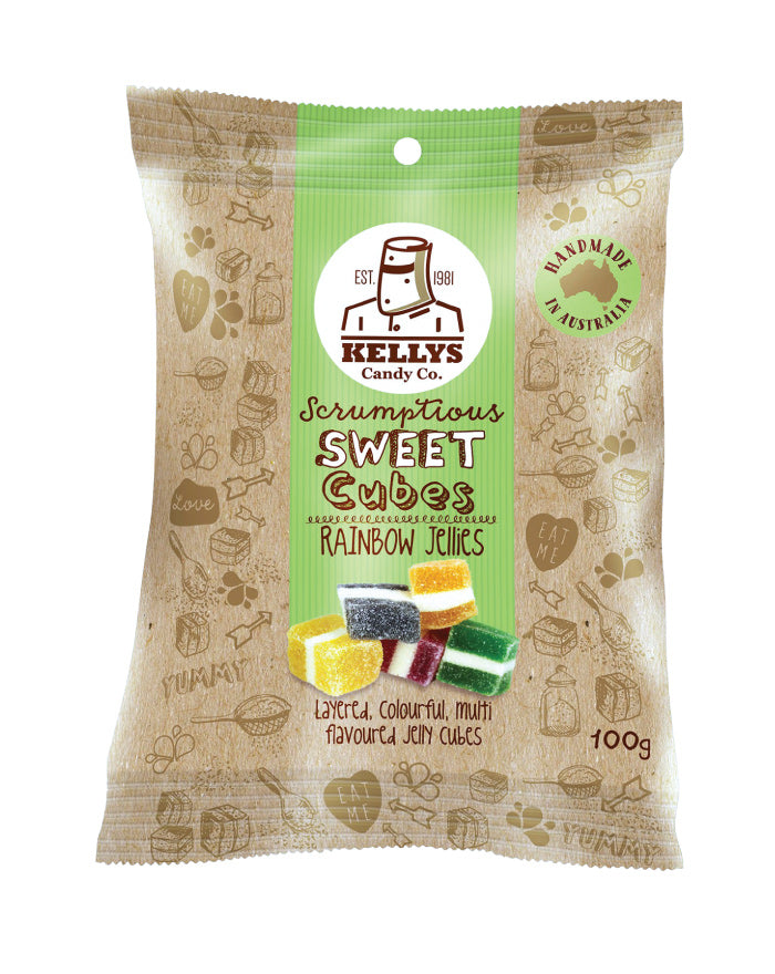 Kellys Candy Co Snack Pack Rainbow Jellies 100g