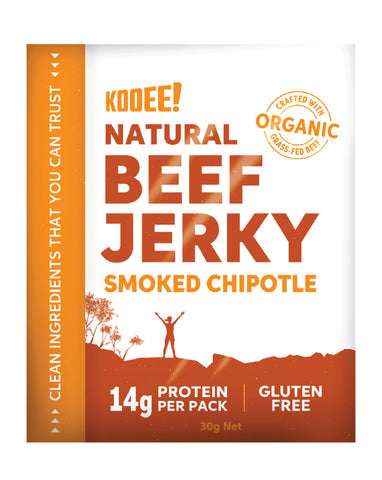 KOOEE! Grass Fed Beef Jerky Smoked Chipotle 30g - Fresh Food Enterprises