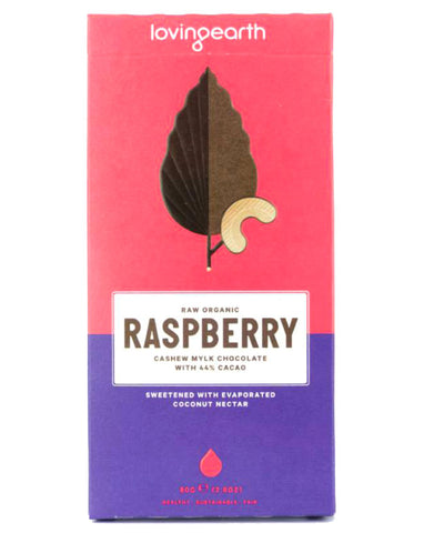 Loving Earth Organic Raspberry Cashew Mylk Chocolate 80g - Fresh Food Enterprises