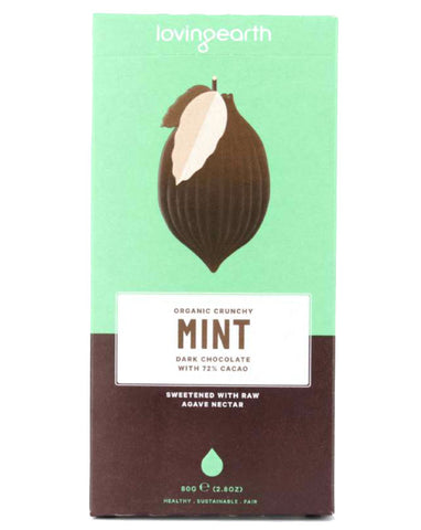 Loving Earth Organic Crunchy Mint Dark Chocolate 80g - Fresh Food Enterprises