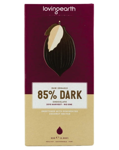 Loving Earth Organic Extra Dark 85% Chocolate 80g - Fresh Food Enterprises