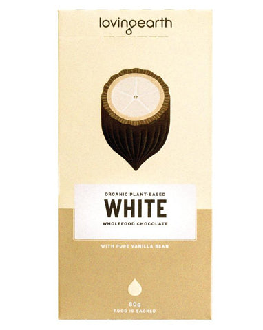 Loving Earth Organic Chocolate White 11 x 80g - Fresh Food Enterprises