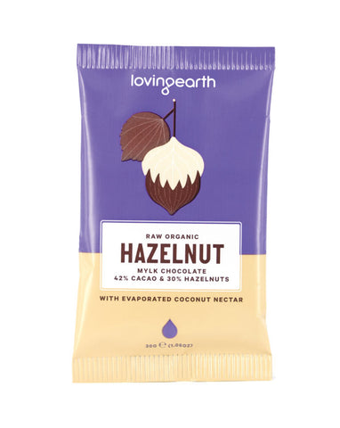 Loving Earth Organic Hazelnut Mylk Chocolate 30g - Fresh Food Enterprises