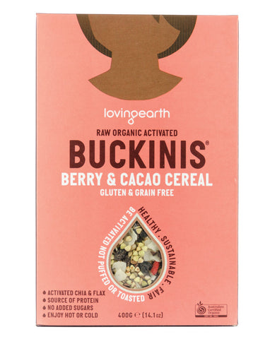 Loving Earth Organic Cereals Buckinis Berry & Cacao Cereal 400g - Fresh Food Enterprises