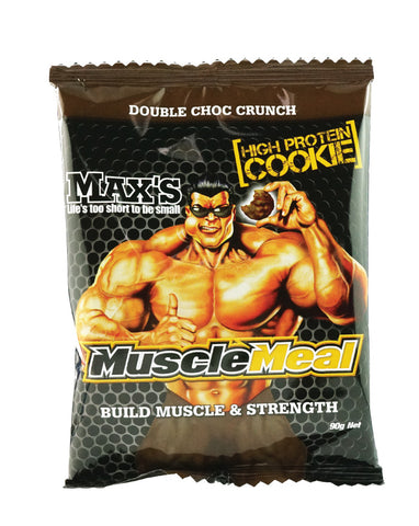 Max's Muscle Meal Cookies Double Choc 12 x 90g - Fresh Food Enterprises