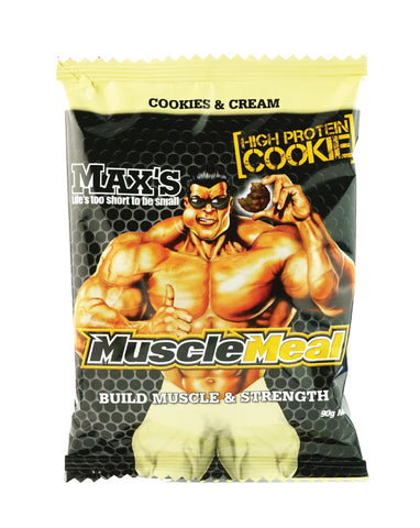Max's Muscle Meal Cookies Cookies & Cream 12 x 90g - Fresh Food Enterprises