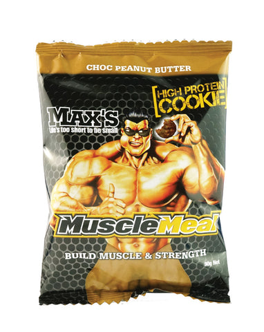 Max's Muscle Meal Cookies Choc Peanut Butter 12 x 90g - Fresh Food Enterprises
