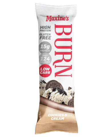 Maxine's Burn Bar Cookies & Cream 12 x 40g - Fresh Food Enterprises