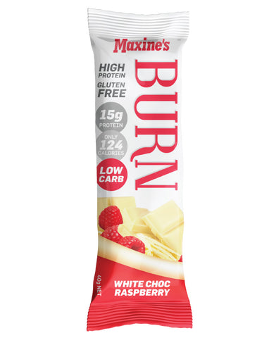 Maxine's Burn Bar White Chocolate Raspberry 12 x 40g - Fresh Food Enterprises