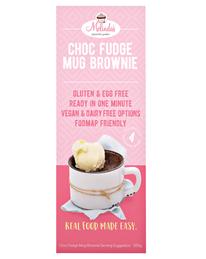 Melinda's Bakery Choc Fudge Mug Brownie 4x50g - Fresh Food Enterprises