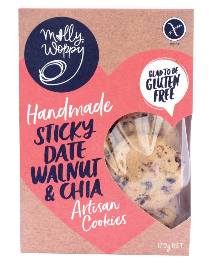 Molly Woppy Artisan Cookies Sticky Date, Walnut and Chia 175g - Fresh Food Enterprises