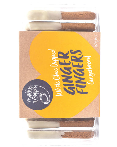 Molly Woppy Ginger Fingers White Choc Dipped 165g