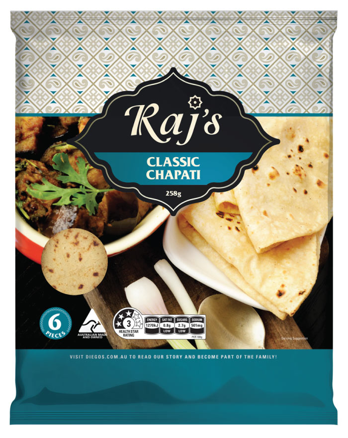 Raj's Classic Chapati 6pk 258g - Fresh Food Enterprises