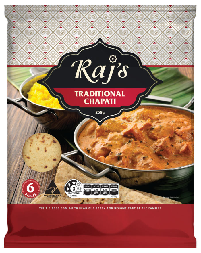 Raj's Traditional Chapati 6pk 258g - Fresh Food Enterprises