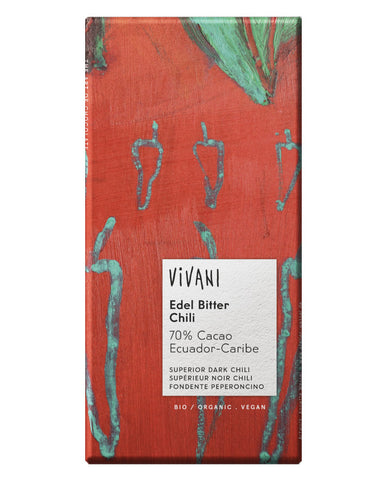 Vivani Organic Chocolate Single Origin Dark Chili 70% 10 x 100g - Fresh Food Enterprises