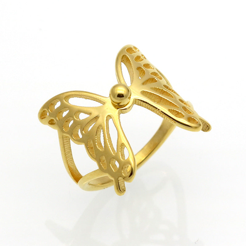 Fashionable popular butterfly wings flying hollow ring ring