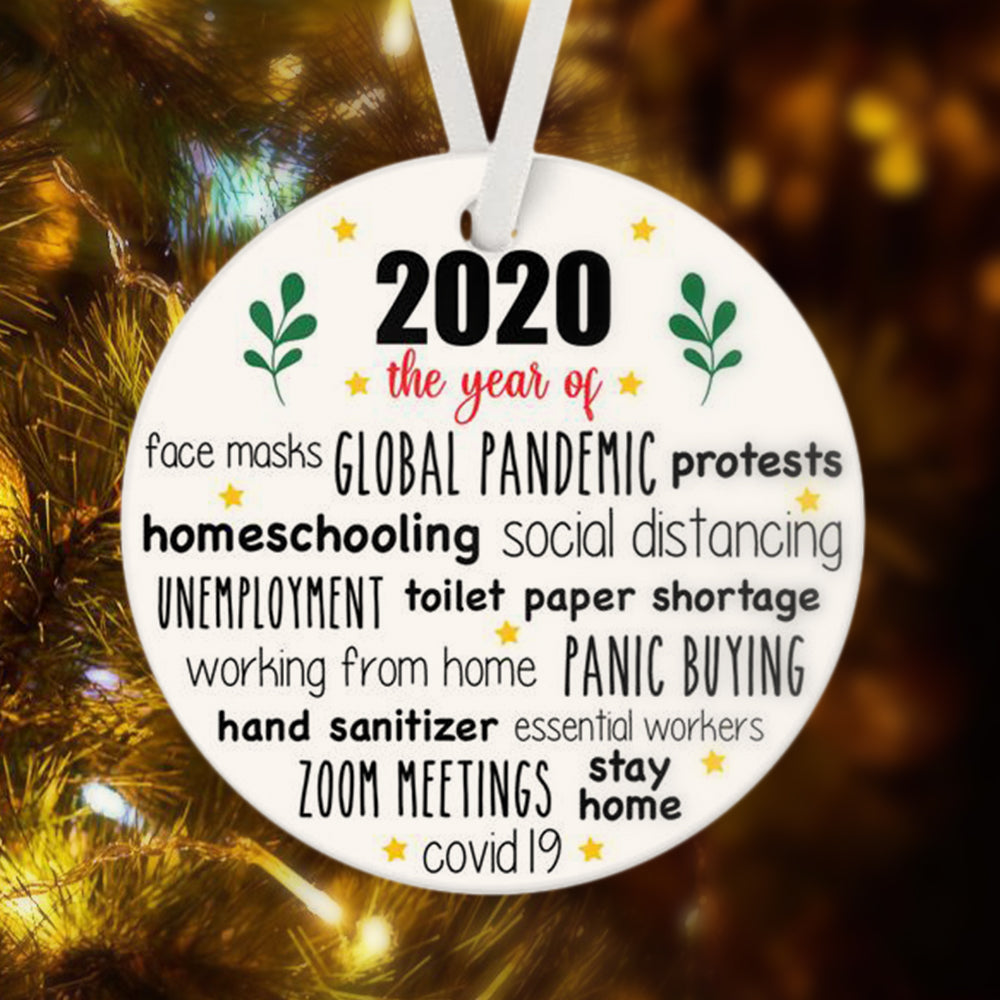 2020 The Year of Ceramic Round Ornament & Ribbon
