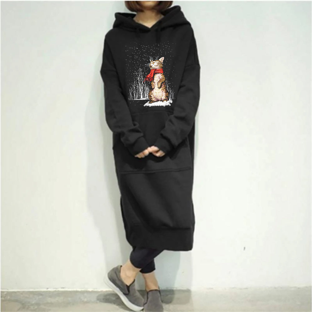 Women's cat snow Casual Long Hooded Pullovers