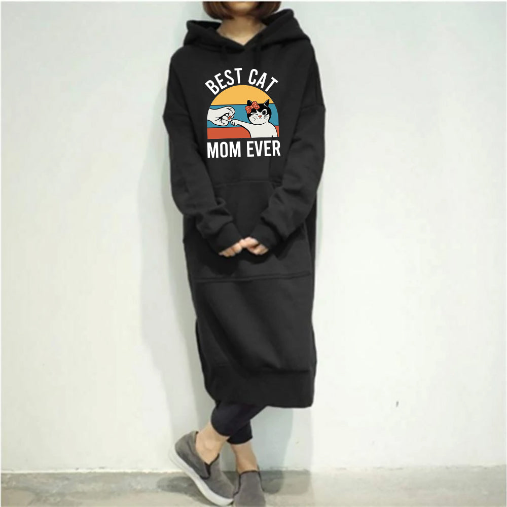 Best Cat Mom Ever (Fist Bump) Casual Long Hooded Pullovers