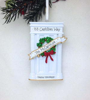 White Door Personalized Christmas Ornament