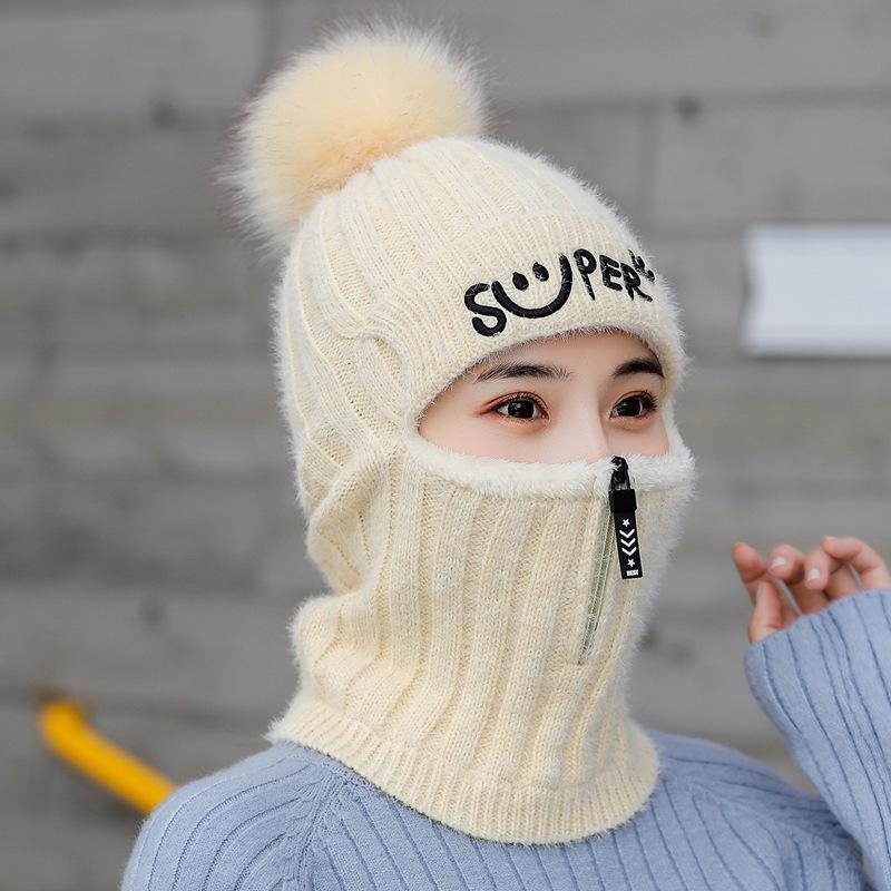 Wool Ball Plus Thick Knitted Hat