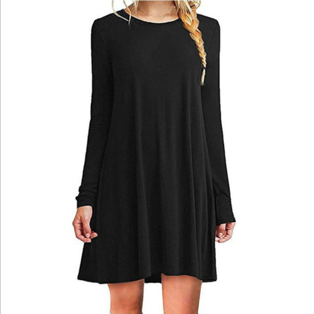 2020 Solid color long sleeve dress