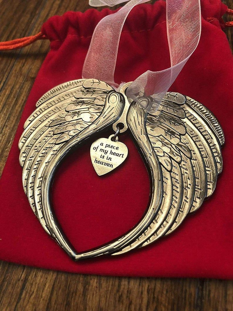 Christmas Ornaments Angel Wings - A Piece of My Heart Is In Heaven Memorial Ornament
