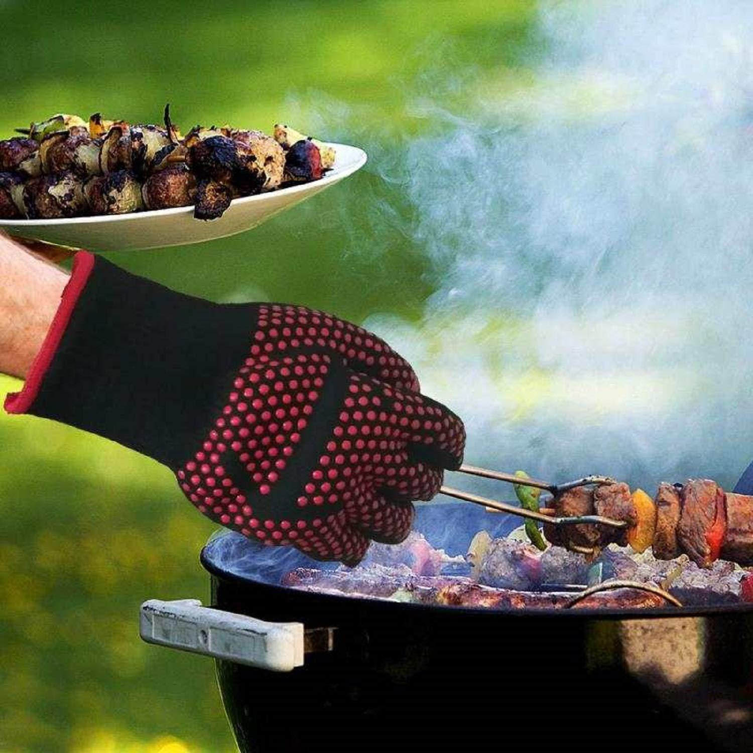 Silicon BBQ Fireproof Glove (932°F Extreme Heat Resistant)
