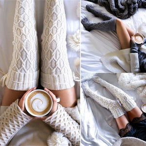 Women Cable Knit Long Boot Socks Over Knee Thigh High Stocking