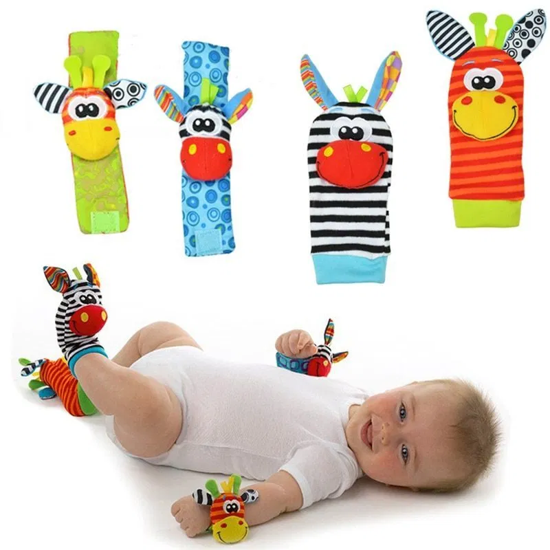 Animal Rattle Baby Animal Watch With Wrist Strap / Socks(4 Pc)