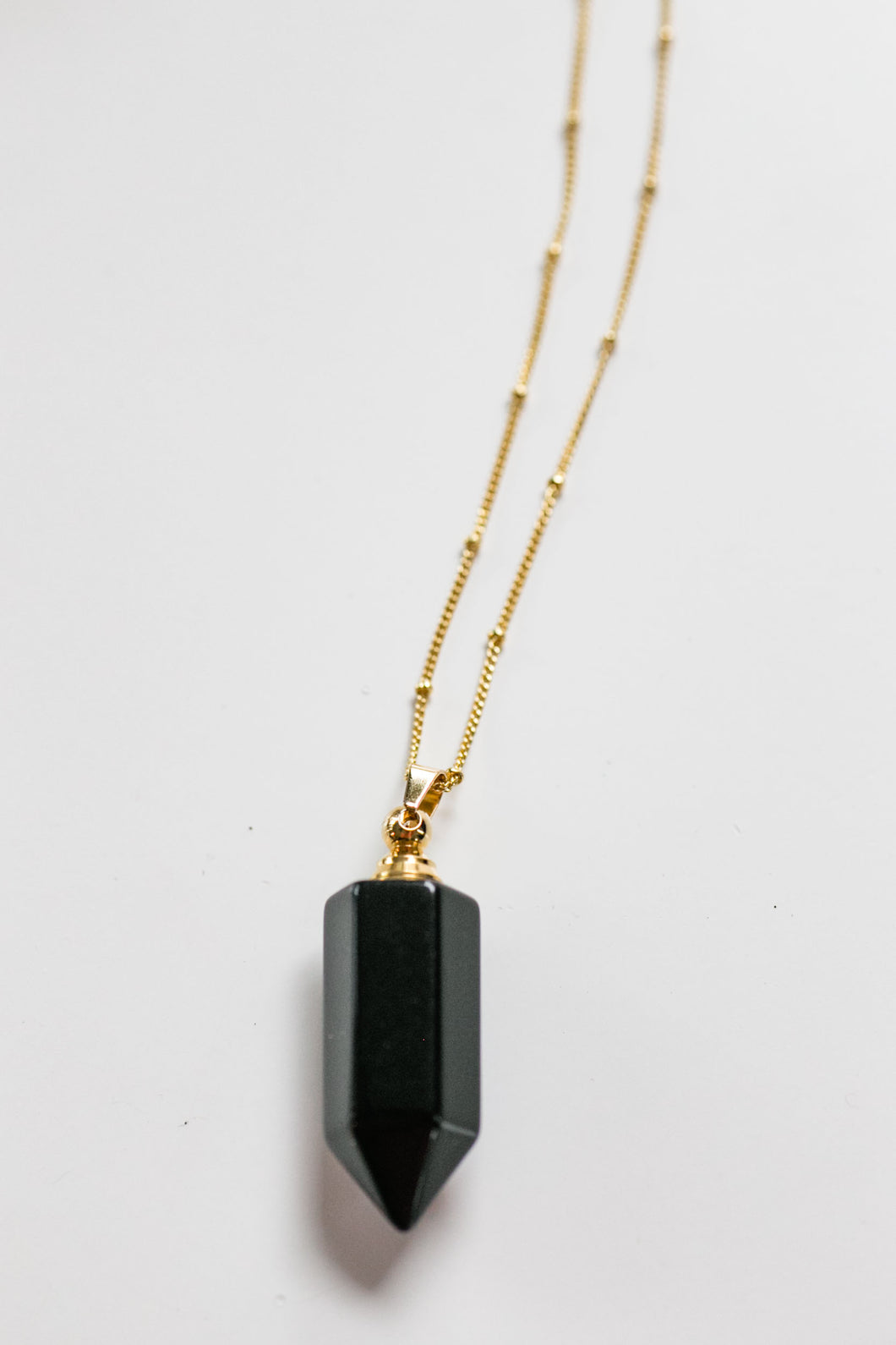 obsidian essential oil vial necklace