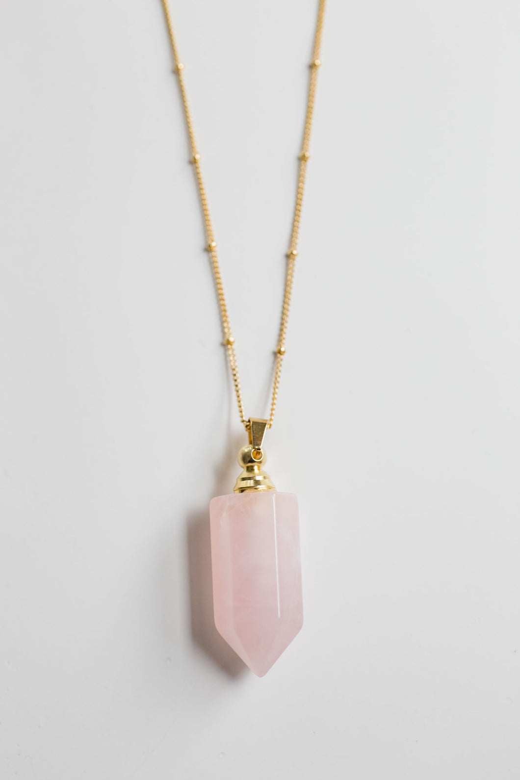 Rose Quartz Gemstone Essential Oil Bottle Necklace