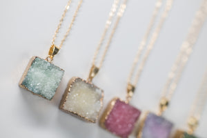 Pastel Colored Square Natural Druzy Diffuser Necklace