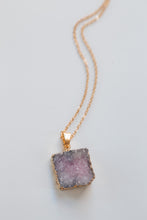 Load image into Gallery viewer, Pastel Colored Square Natural Druzy Diffuser Necklace