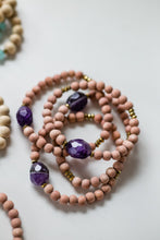 Load image into Gallery viewer, Amethyst Gemstone and Wood Bead Diffuser Bracelet