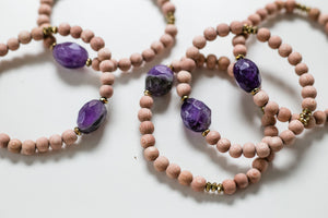 Amethyst Gemstone and Wood Bead Diffuser Bracelet