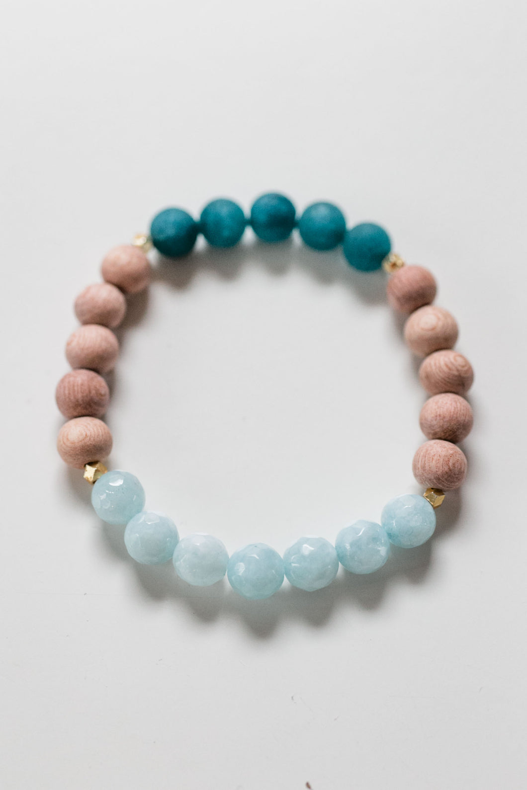 Faceted Aqua and Teal Jade Bead Diffuser Bracelet