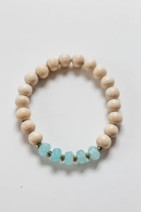 Aqua Jade and Wood Diffuser Bracelet