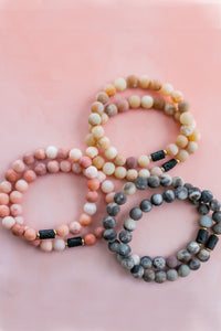 Earthy Matte Jade and Lava Stone Diffuser Bracelet