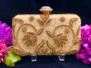 Embroidered Gold Clutch