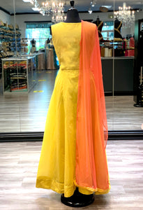 Contrasting Yellow Anarkali