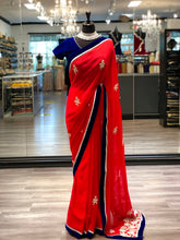 Load image into Gallery viewer, Royal Blue + Red Saree