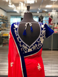 Royal Blue + Red Saree