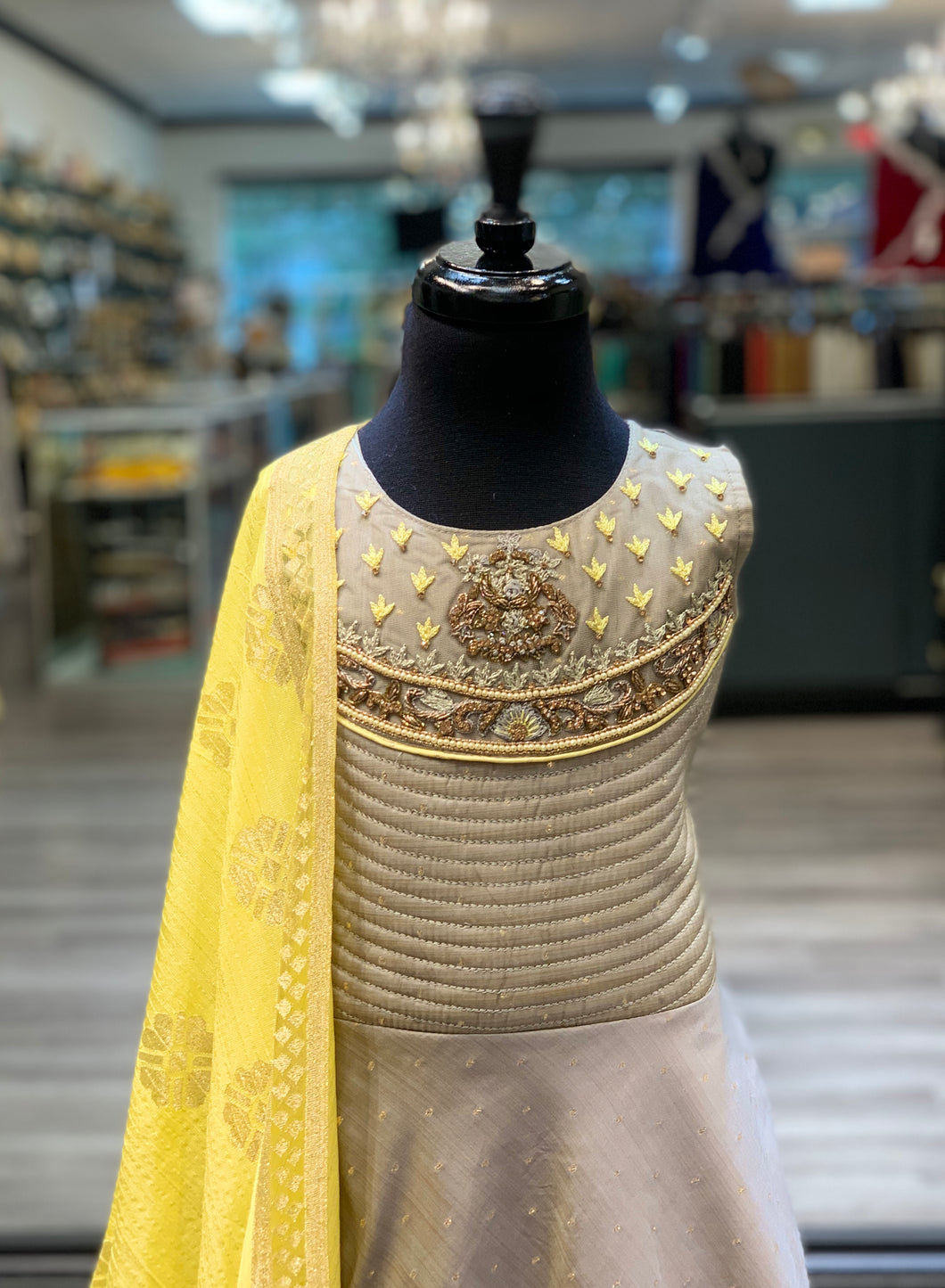 Grey + Yellow Anarkali